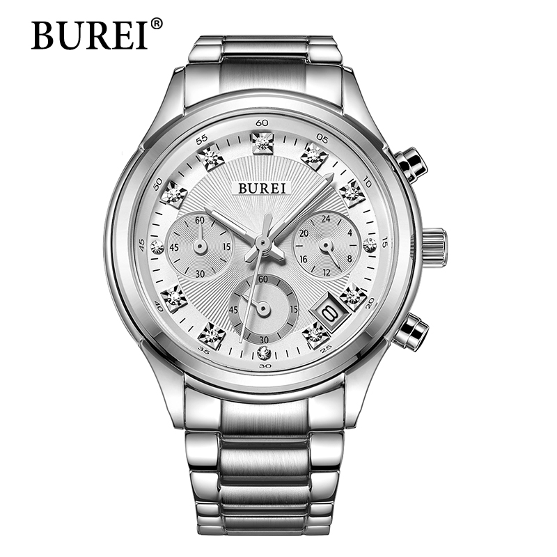 цена на BUREI Women Quartz Wristwatch Ladies Designer Clock Luxury Watches Classic Stainless Steel Date Female Watch Gift 2016 Hot Sale