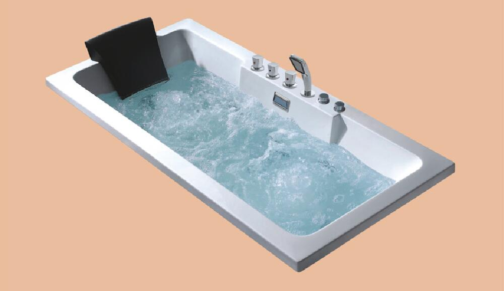 1500mm Drop-in Fiberglass whirlpool Bathtub Acrylic Hydromassage Embedded Tub NS6010