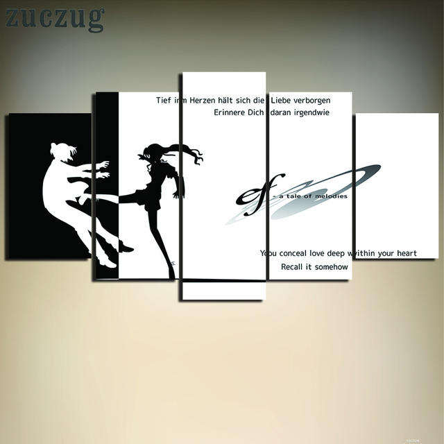 5 Panel Quotes Funny Picture Wall Art Picture Printing On Canvas For Home  Decor Living Room