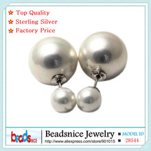 Beadsnice ID28544 hot sale real 925 silver double faced earrings for women new style shell beads stud earrings wholesale