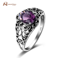 100 Real Pure 925 Sterling Silver Ring Purple Created Amethyst Crystal For Women Men Jewelry Vintage
