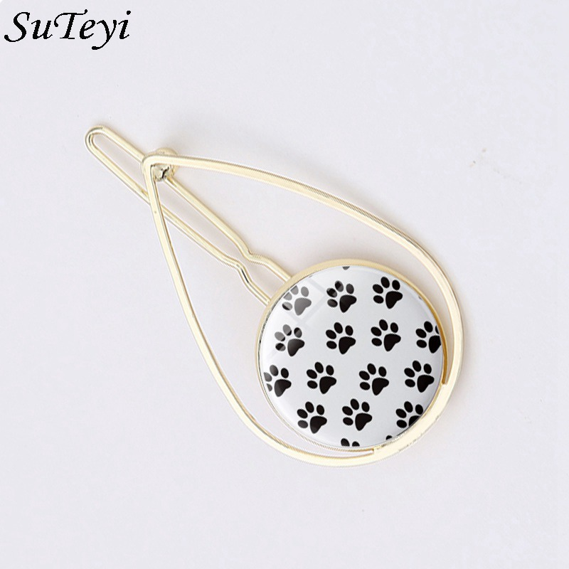 Suteyi 2018 New Arrival Hollowed Water Drop Cat Animal I Love Cats Hair Clip Accessories Alloy for Woman Girls Holder Headwear