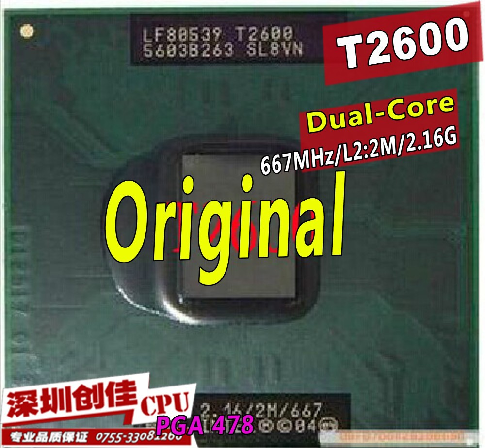 Original For Intel Cpu Laptop Core 2 Duo T2600 2m Cache 216 Ram Ddr2 2gb Pc2 6400 Asli Jepang 216ghz 667 Dual Socket 479laptop Processor Gm45pm45