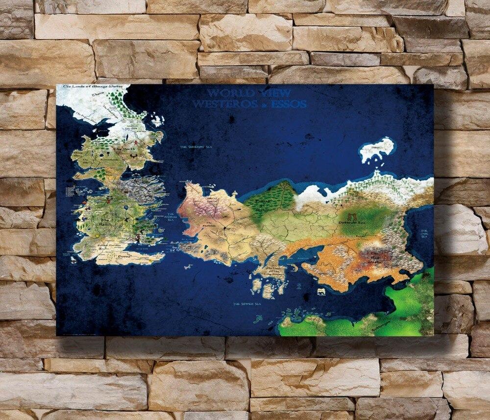 120x80cm Lein-Wand-Bild Game of Thrones Landkarte Westeros Globus Meer