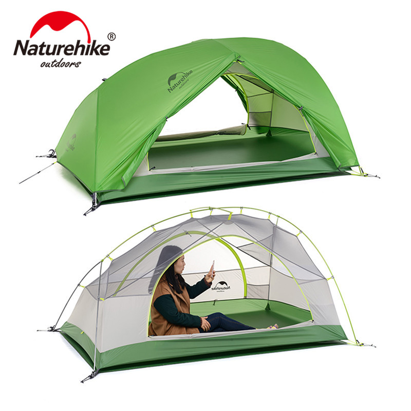 Naturehike Star River Tent 20D Silicone Fabric Ultralight 2 Person Double Layers Aluminum Rod Camping Tent  With Mat NH17T012-T nh naturehike high quality 2persons classical professional ultra light aluminum pole camping tent with the bottom mat