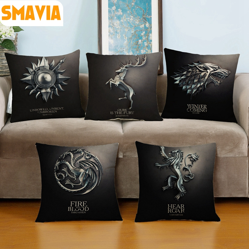 Dark series Design Game Pillow Covers A Song of Ice and Fire Cushion Cover Linen Throw Chair/Car/Sofa Pillowcases ...