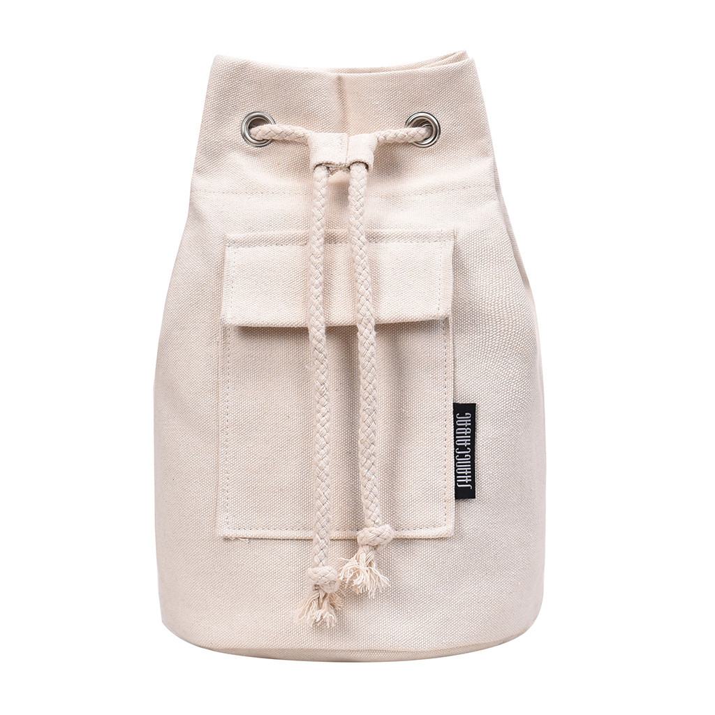 MAIOUMY Fashion Simple Solid Color Canvas Drawstring Shoulder Bag Chains String Bucket Cylindrical travel Messenger Bag