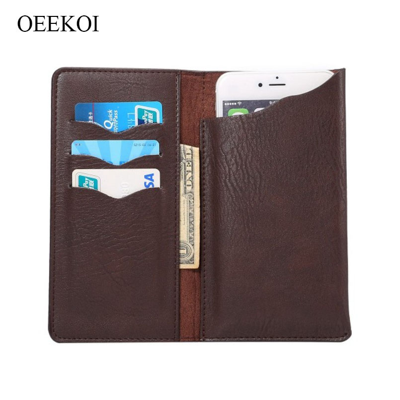 OEEKOI Universal Elephant Pattern Leather Wallet Pouch Case for Vivo Y53i
