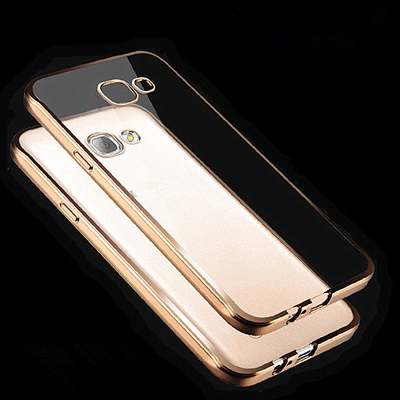 Electroplating Gold Frame Clear Soft TPU Case Cover for Samsung Galaxy S6 S7 Edge S8 S9 Plus A3 A5 A7 J3 J5 J7 2016 A8 Plus 2018