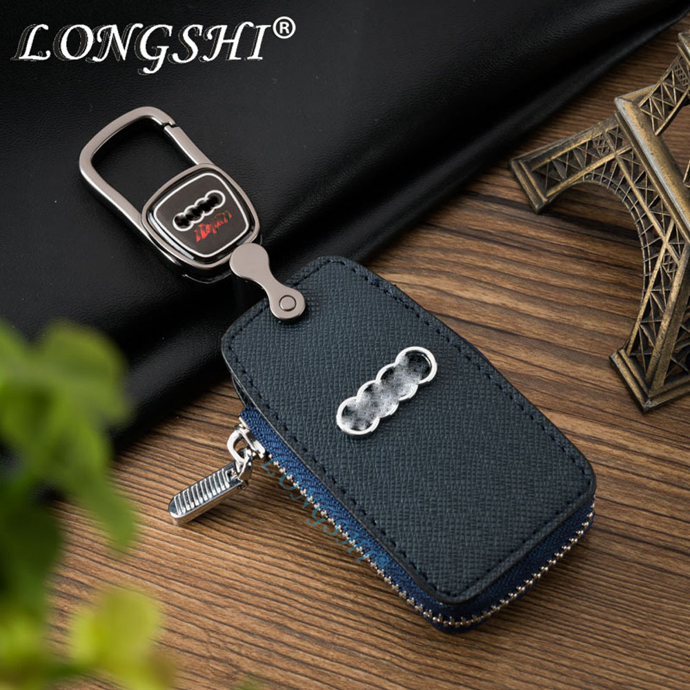 LONGSHI Top 2018 Leather Car Key Case Cover Key Holder Men Women Fashion Key Wallet for Audi A6L A4L A1 A3 A4 A6 A7 A8 Q3 Q5 Q7 universal car seat cover for audi q3 q2 q5 q7 a1 a2 a4 a6 a8 a4l a6l tt tts car accessories car sticker free shiping