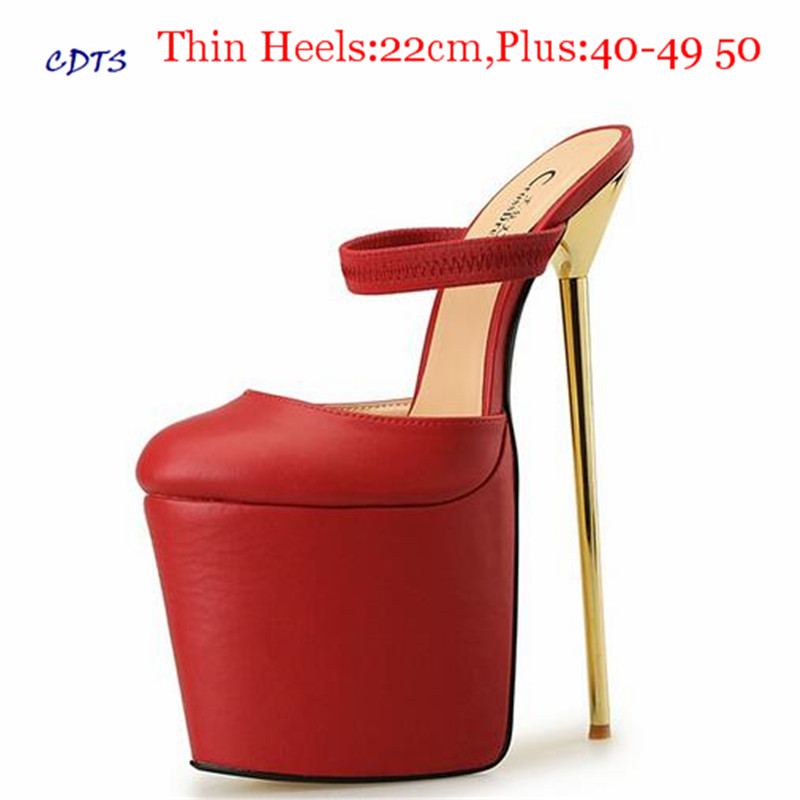 CDTS zapatos Plus:46 47 48 49 50 Summer Stiletto Slides Round Toe 22cm thin heels platform Sandals wedding shoes women pumps костюм радужной клоунессы 46 48