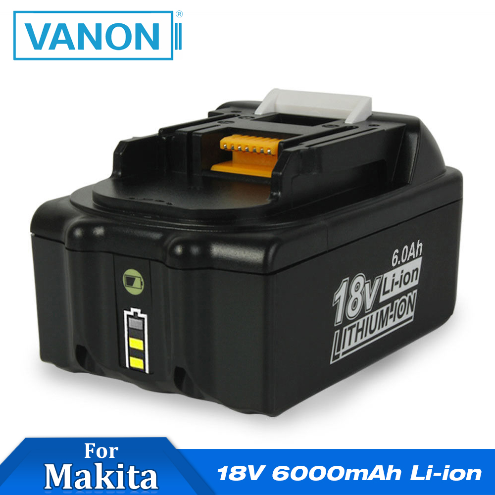 VANON For Makita 18V 6000mAh 6.0Ah Rechargeable Power Tools Battery With LED Li-ion Replacement LXT BL1860B BL1860 BL1850(China)