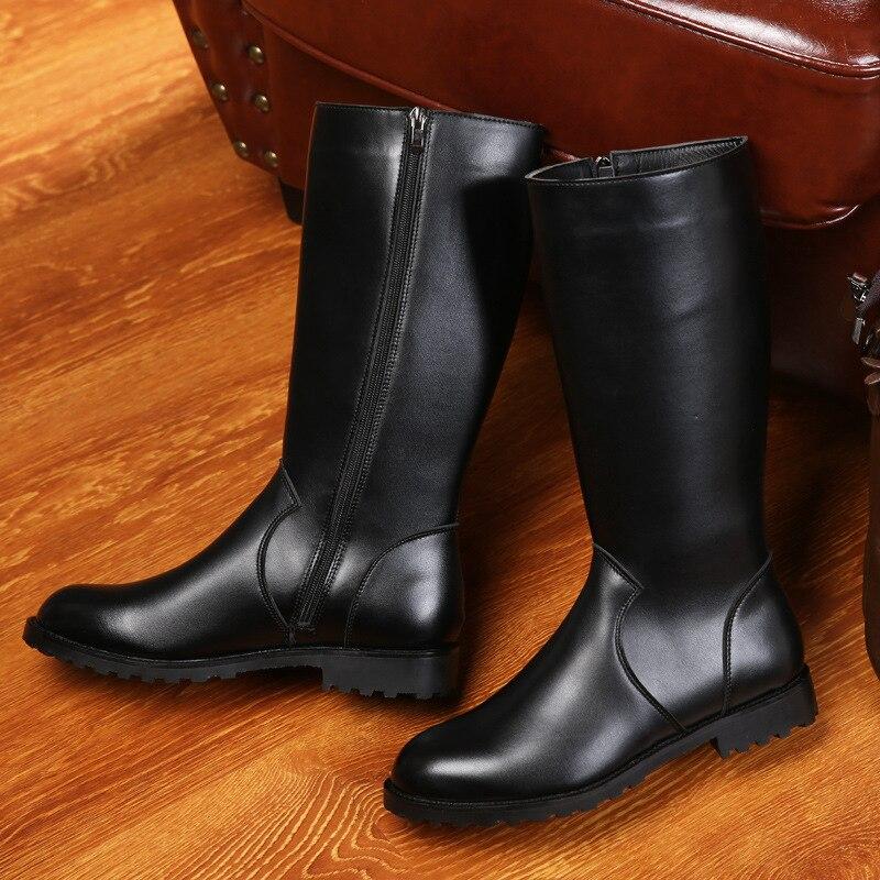 ERRFC ฤดูหนาวใหม่สีดำยาวรองเท้าบู๊ตสำหรับผู้ชายสั้นซิปขี่รองเท้า 33 ซม. Man เข่ารถจักรยานยนต์ boot 37 46 บน   3