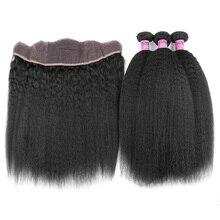 YVONNE Brazilian Kinky Straight Lace Frontal With Bundles,1Pcs Lace Frontal Closure 13.5×4 With 3Pcs Human Hair Bundles