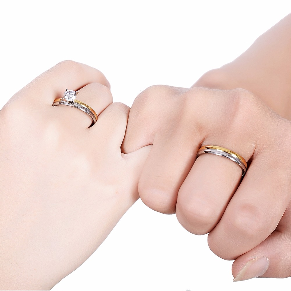PINKSEE Romantic Wedding Rings for Lover Gold Color Stainless Steel ...