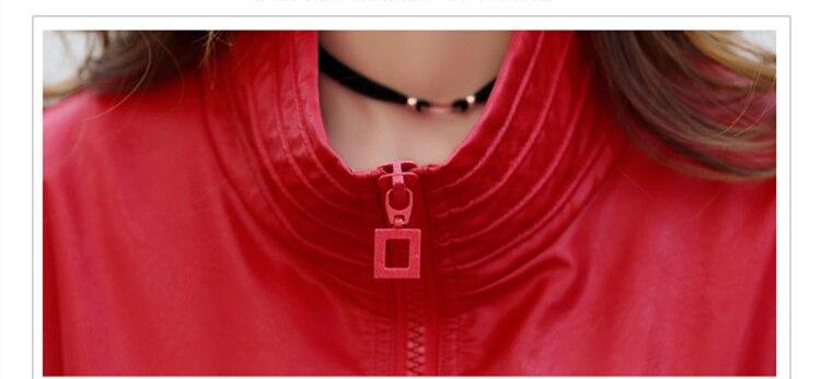 Abrigos black Faux Zipper Veste Manteau En Red Moto Survêtement Nouveau Doux Lx285 Court Femmes Automne Cuir Pu Mlcriyg Lâche 2018 qA7aOwfwH