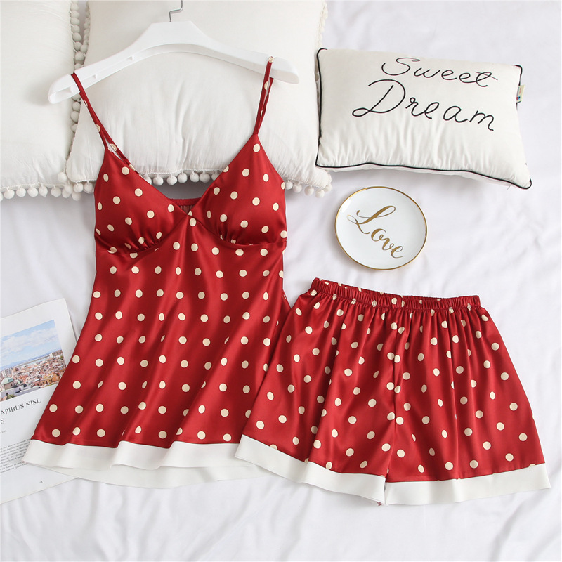 Women's Sleepwear 2 Piece Dot Print V-neck Bow Stitched Top + Stitching Shorts Casual Comfort Sleepwear Two Piece Set Women