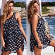 2019 Hot Sexy Women Swimwear Cover-Ups Bikini Polka Dot Cover Up Chiffon Bathing Suit Large Beach Dress