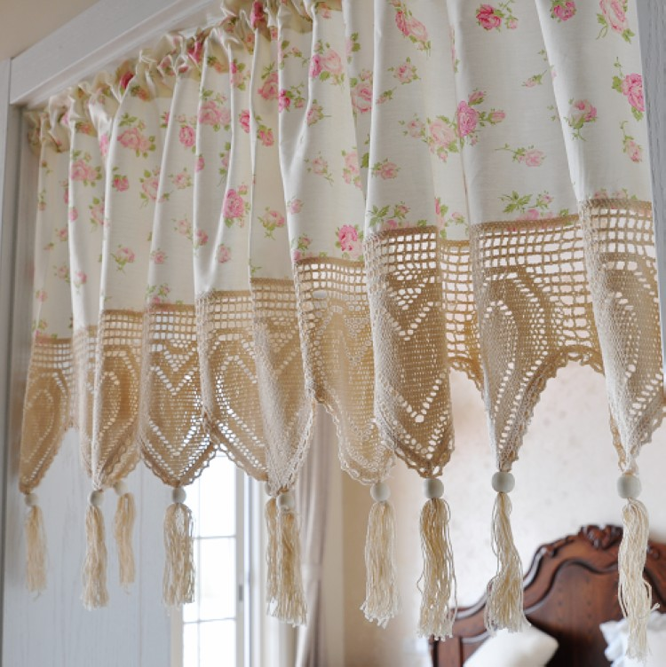 Rustic Rose Print Curtain Crochet Tassel Kitchen Curtain