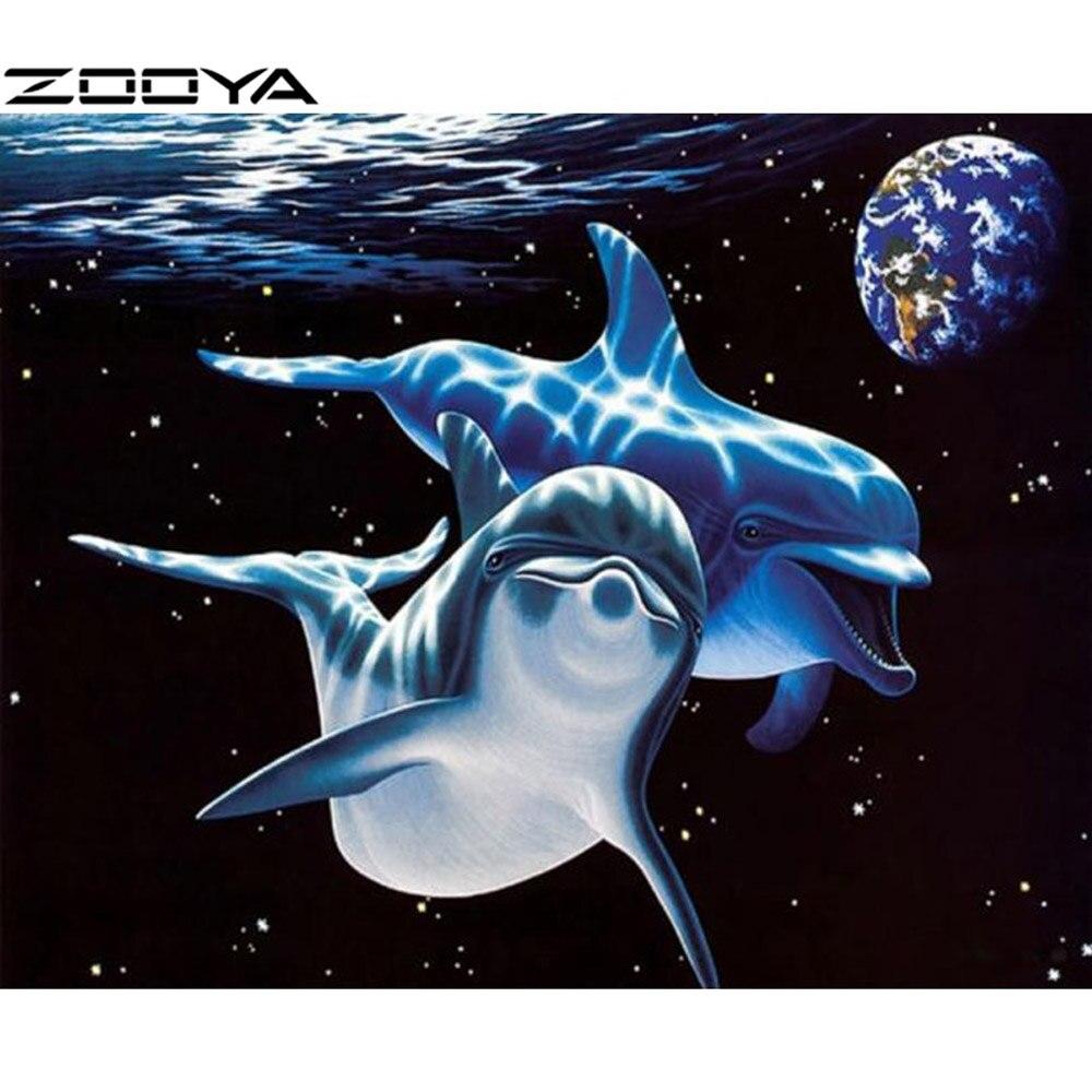 웃 유Cuadros de punto de cruz Bordado kit diamante delfines en el ...