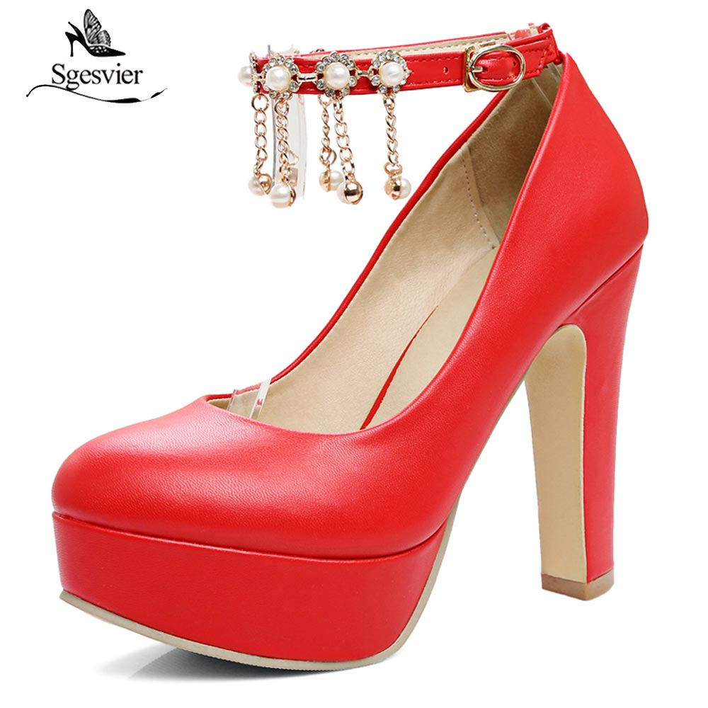 Sgesvier Plus Size 32-43 Women Shoes High Heel 12 CM Thick Heels Party Wedding Shoes Platform Round Toe Pumps Ladies Shoes B404 luxury brand crystal patent leather sandals women high heels thick heel women shoes with heels wedding shoes ladies silver pumps