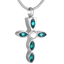 Colorful Crystal Cross Urn Necklace