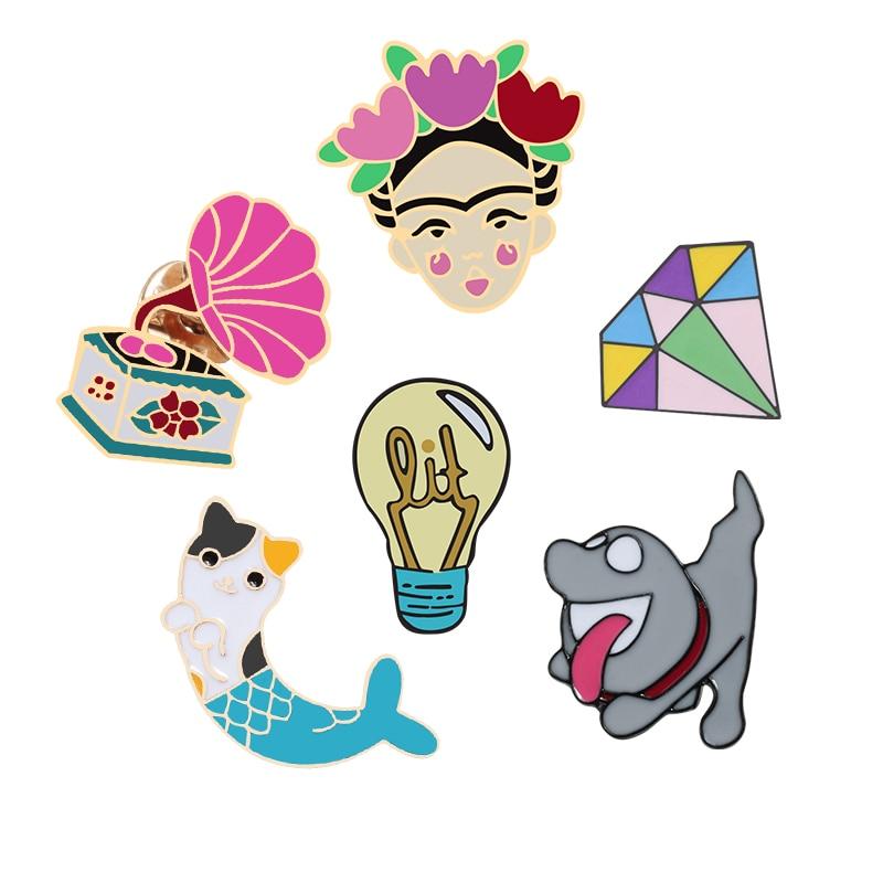 Винтажные Броши с животными из мультфильмов, кошка-фонограф, Русалка, собака светильник лампочка, Китайская опера, женские эмалированные за...