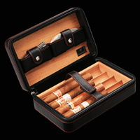 Luxury COHIBA portable genuine leather cigar bag(hold 4pcs)W/ Cigar Cutter Humidor Storage Box cigar(not include cutter lighter)