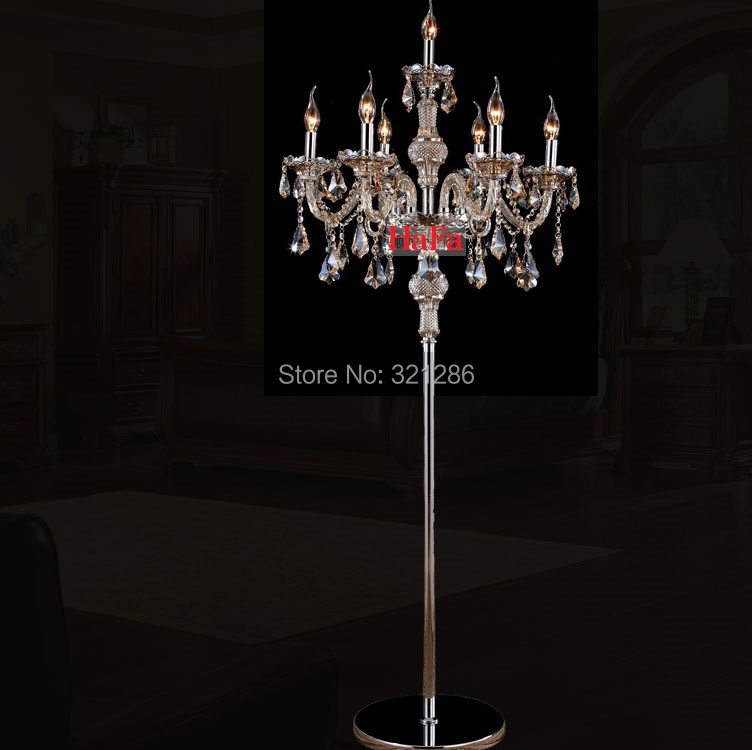 Free shipping Fashion crystal floor lamp bedroom floor lamp candle crystal floor lamp vintage luxurious crystal floor lamps k9 crystal floor lamps stand lamp luxury modern minimalist living room crystal lamp bedside bedroom floor lamps crystal lights