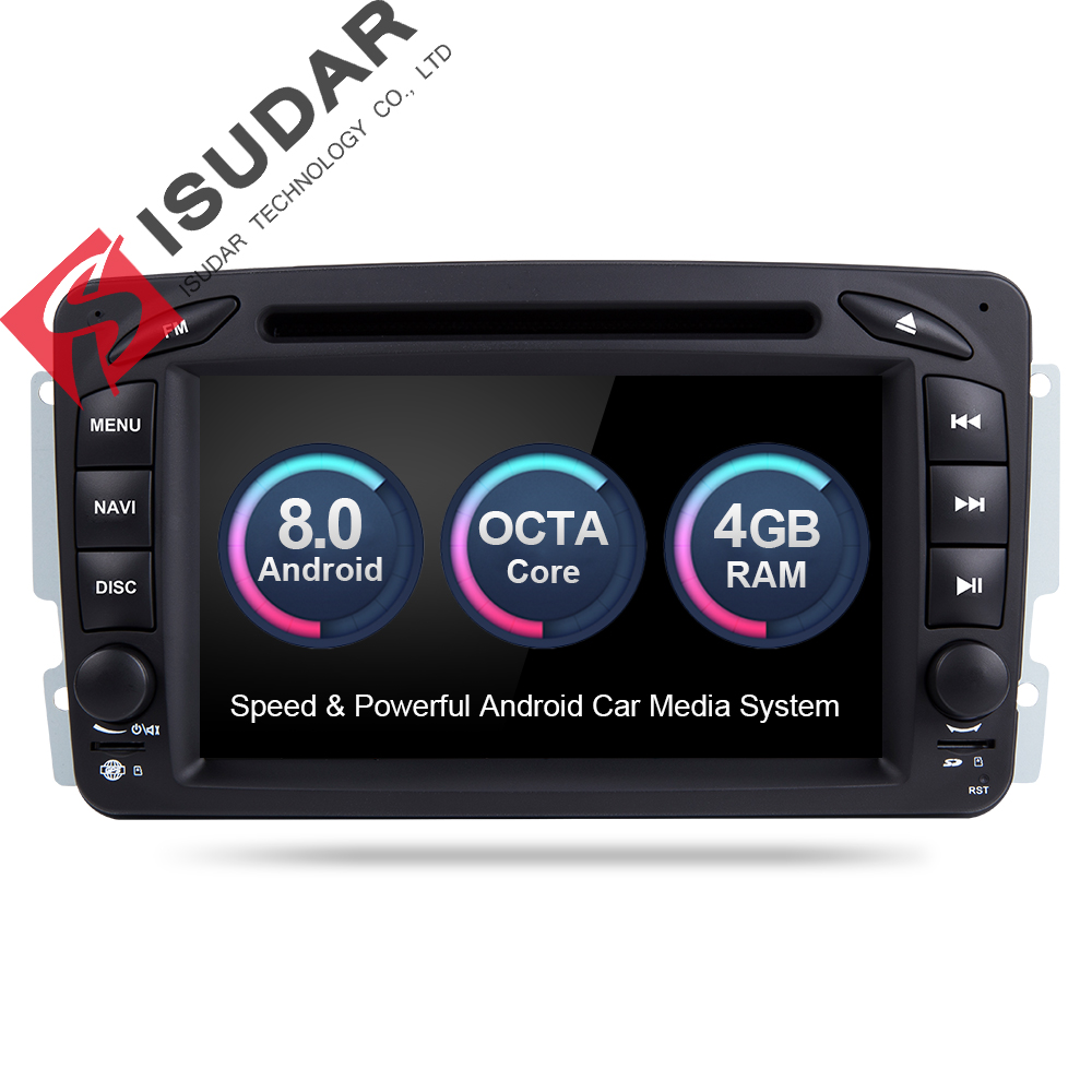 Isudar Voiture lecteur Multimédia Android 8.0 GPS 2 Din Voiture Radio Lecteur DSP Pour Mercedes/Benz/W209/ w203/Viano/W639/Vito FM Radio