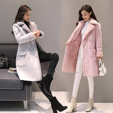 2017 Winter Jacket Women's Fashionable New Lamb Coat, High-end South Korean And Long Velvet Jacket With a Heavy Show Thin Coat(China)