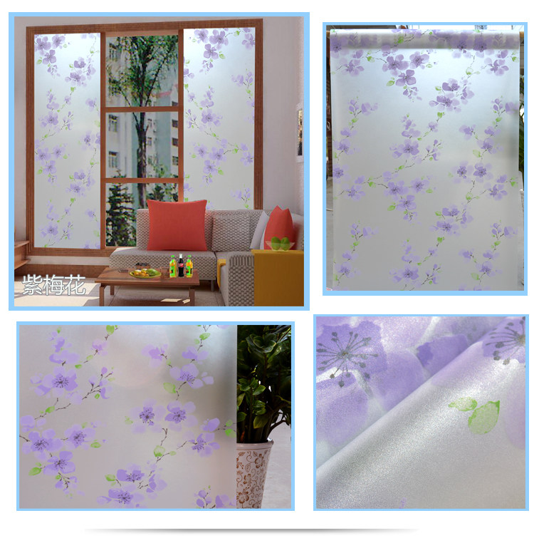 Blue Plum blossom Window Film Frosted Opaque Glass Privacy Glass Stickers film stained g ...