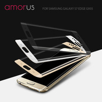 AMORUS For Samsung Galaxy S7 Edge G935 Silk Print Full Size Curved Tempered Glass Screen Film