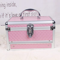 Aluminum Cosmetic Bags High Quality Polyeste Makeup Bags Travel Organizer Necessary Beauty Case Toiletry Bag Make up Box