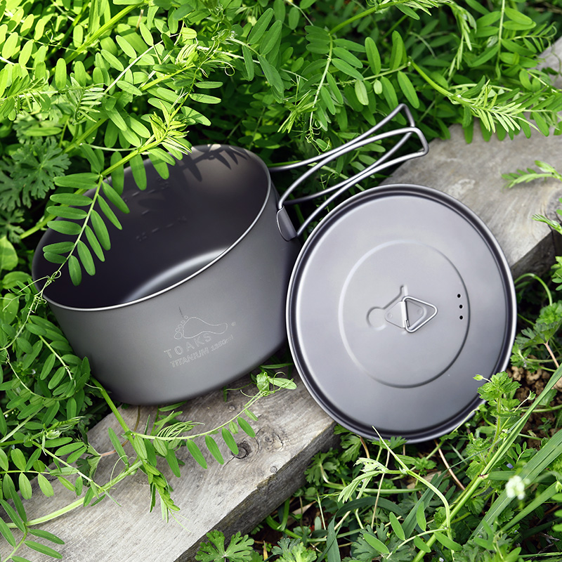 TOAKS Outdoor Camping 3in1 Titanium Pot 1350ml Ultralight Portable Bowl Cup POT-1350