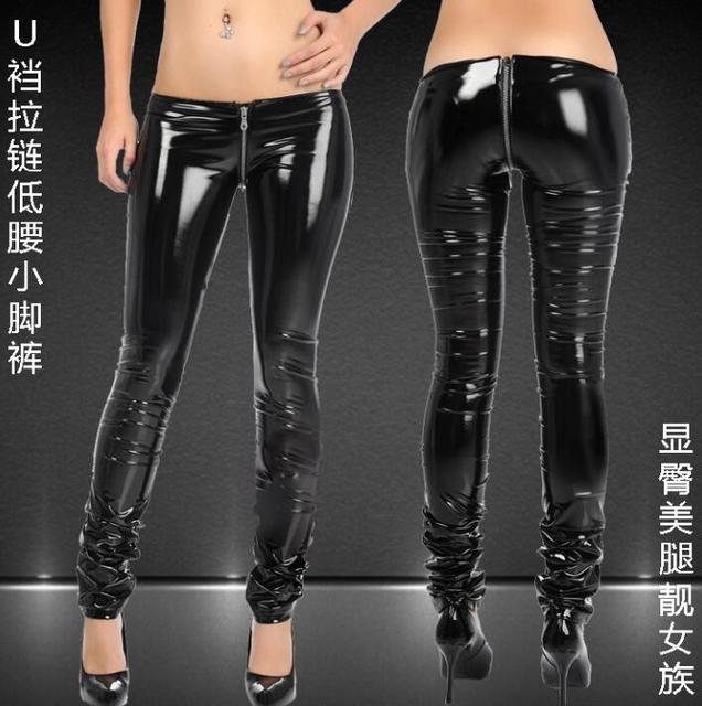 Ultra-taille basse sexy moto pantalon simili cuir femmes serré pantalon  skinny pu pantalons pour 770235b47521