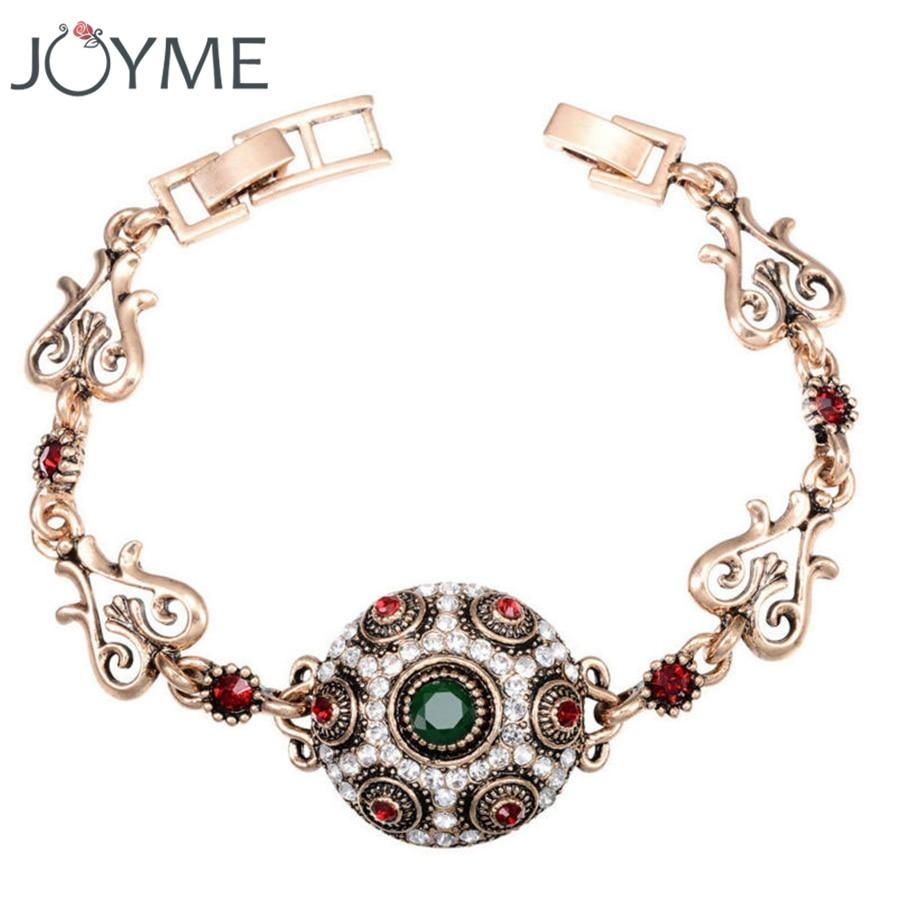 Turkey Retro Goldcolor Charm Bracelet Crystal Red Resin Beads Love Female Friendship  Bracelets For