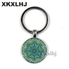 XKXLHJ new Buddhist Zen Henna Yoga Keychain Glass convex Round Mandala Lotus om Symbol Jewelry