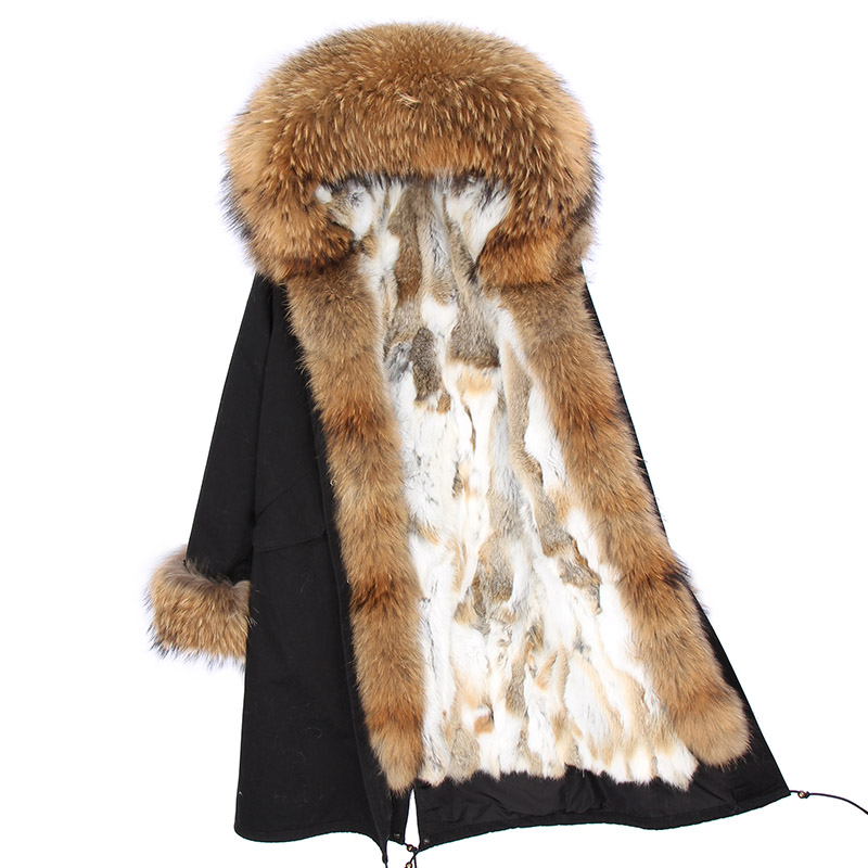 Winter Jacket Women X-long 2019 Parkas Real Fur Coat  Natural Raccoon Fur Collar Rabbit Fur Liner Streetwear Outerwear Brand
