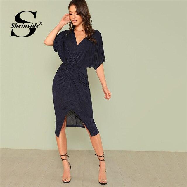 91fc58855d Sheinside Navy Twist Front Slit Hem Batwing Dress Women Summer Deep V Neck  Short Sleeve Midi Dress Ladies OL Work Casual Dress