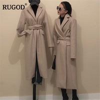 RUGOD Vintage Fashion Long Wool Coat Women Long Sleeve Adjustable Waist Trench Coat New Winter Clothes manteau femme hiver
