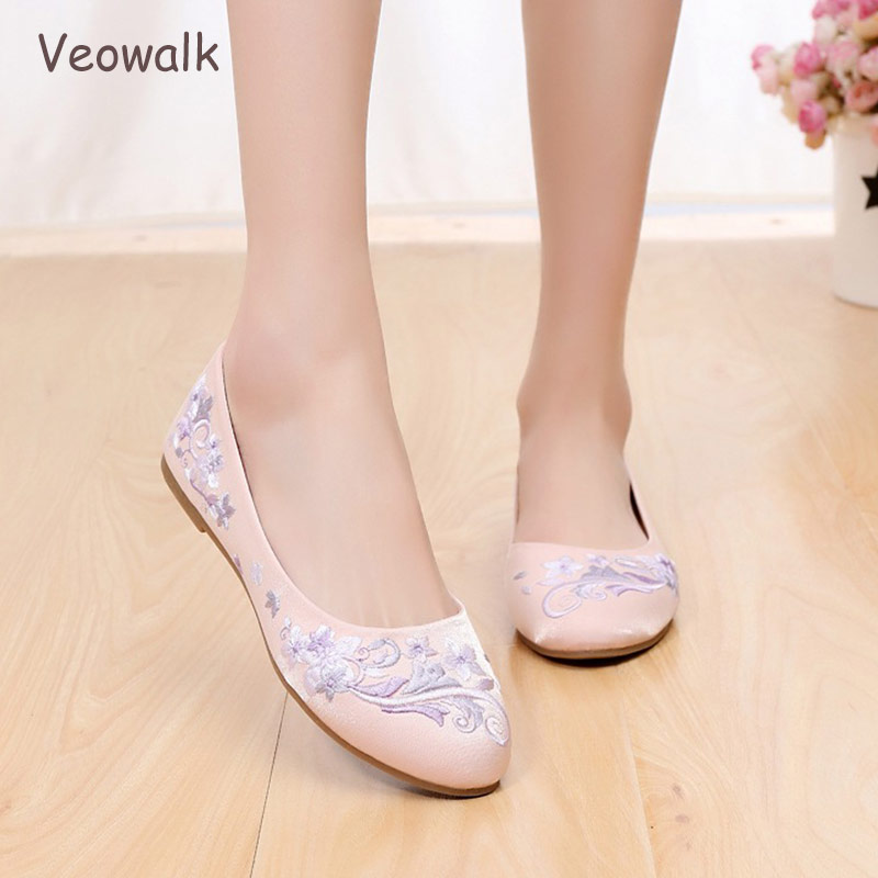 af702fac512d Veowalk Flowers Embroidered Women Soft Foldable Slip on Ballet Flats Retro  Ladies Comfort Casual Cotton Round