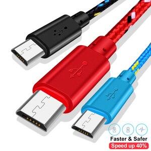 Image 5 - 1m 2m 3m Nylon tressé Micro USB câble données synchronisation USB chargeur câble pour Samsung Huawei Xiaomi Android téléphone câbles charge rapide
