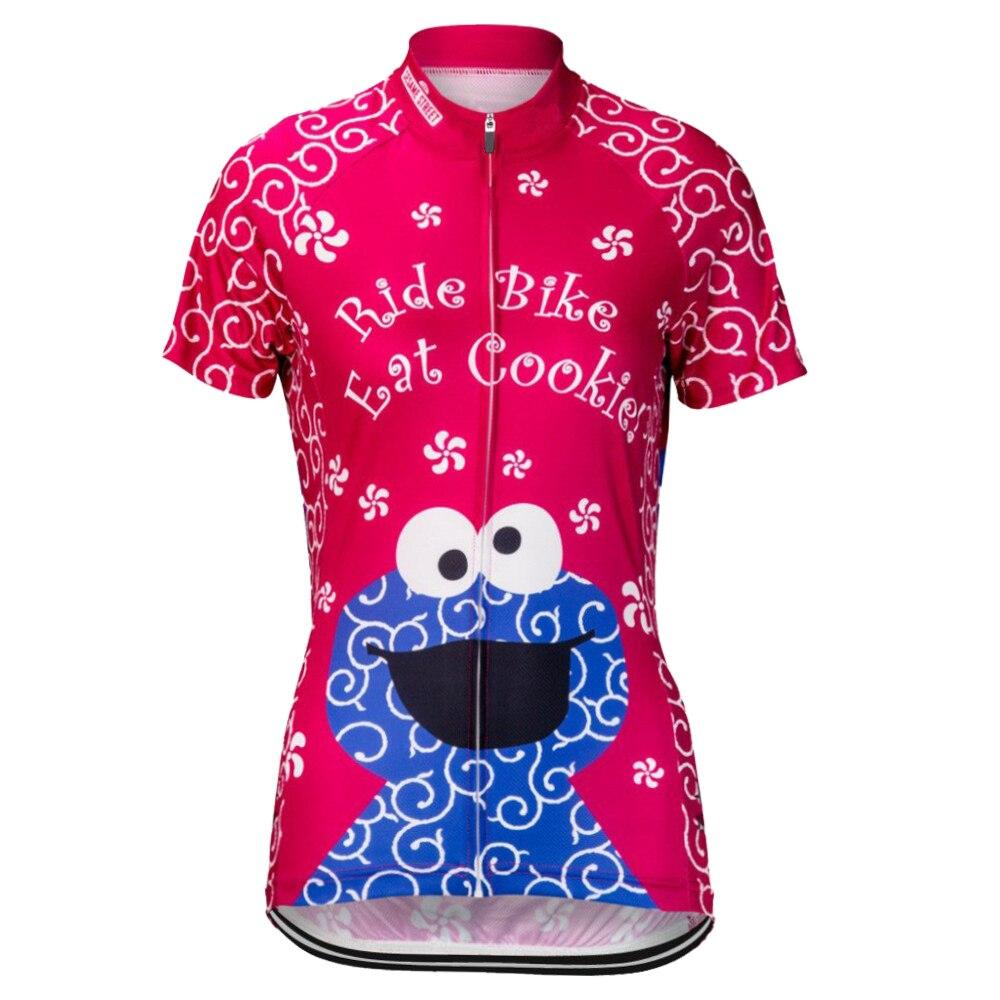 2017 Cookie Monster Rosa Ciclismo Pro Jersey Donne MTB Shirt Traspirante Vestiti Della Bici Quick Dry Sport Tops XS-5XL