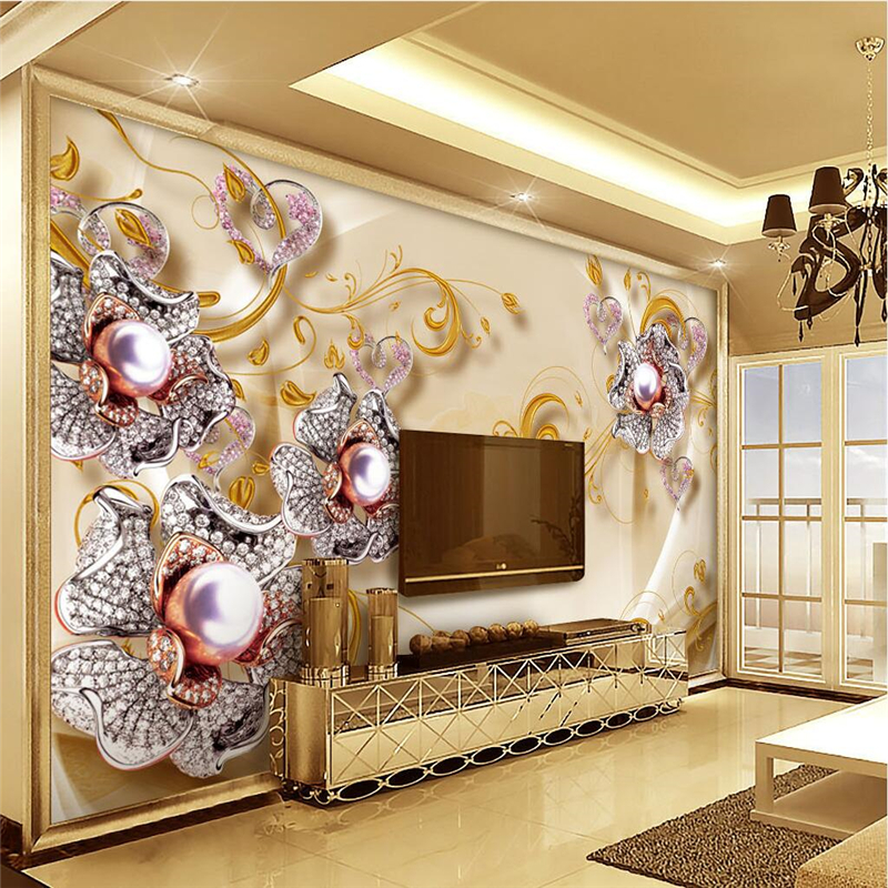 Home Design 3d Gold Ideas: Beibehang Custom 3d Wall Papers Jewelry Diamonds Gold