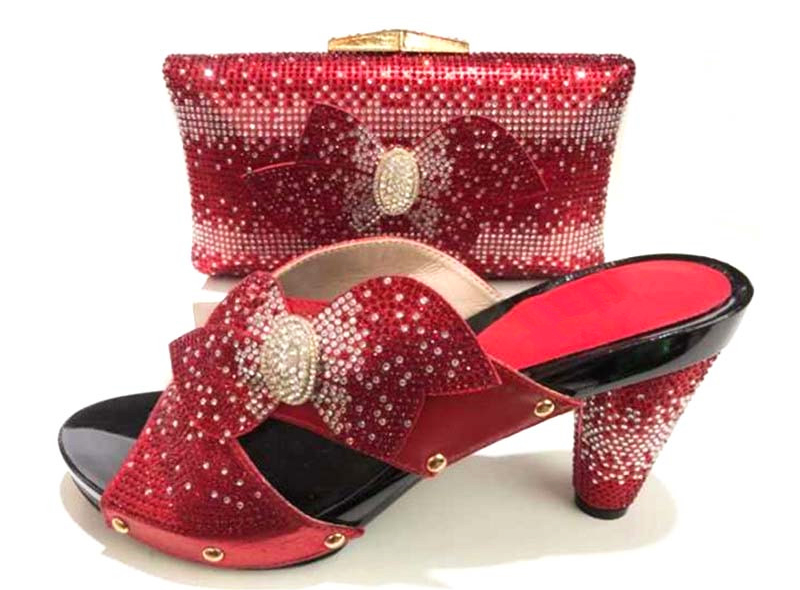 Rhinestones clutches bags and slippers shoes in red color shoes and bag matching set italian design 2018 shoe and bag SB8171-4 cd158 1 free shipping hot sale fashion design shoes and matching bag with glitter item in black