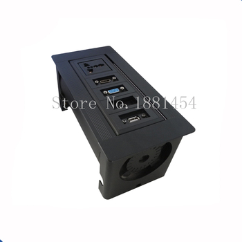 Square VGA audio compute USB hidden manual flipping desktop socket or High Class Conference Table