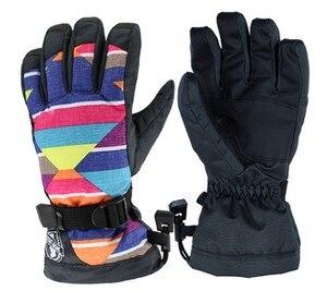 Женские цветные лыжные перчатки, женские водонепроницаемые перчатки для катания на лыжах, сноуборде, с сенсорным экраном, осенне-зимние спо...