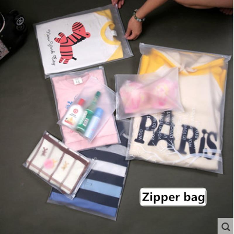 10pcs/lot storage bag plastic zipper bag zip lock portable travel pouch home storage organizati pocket clothes storage container