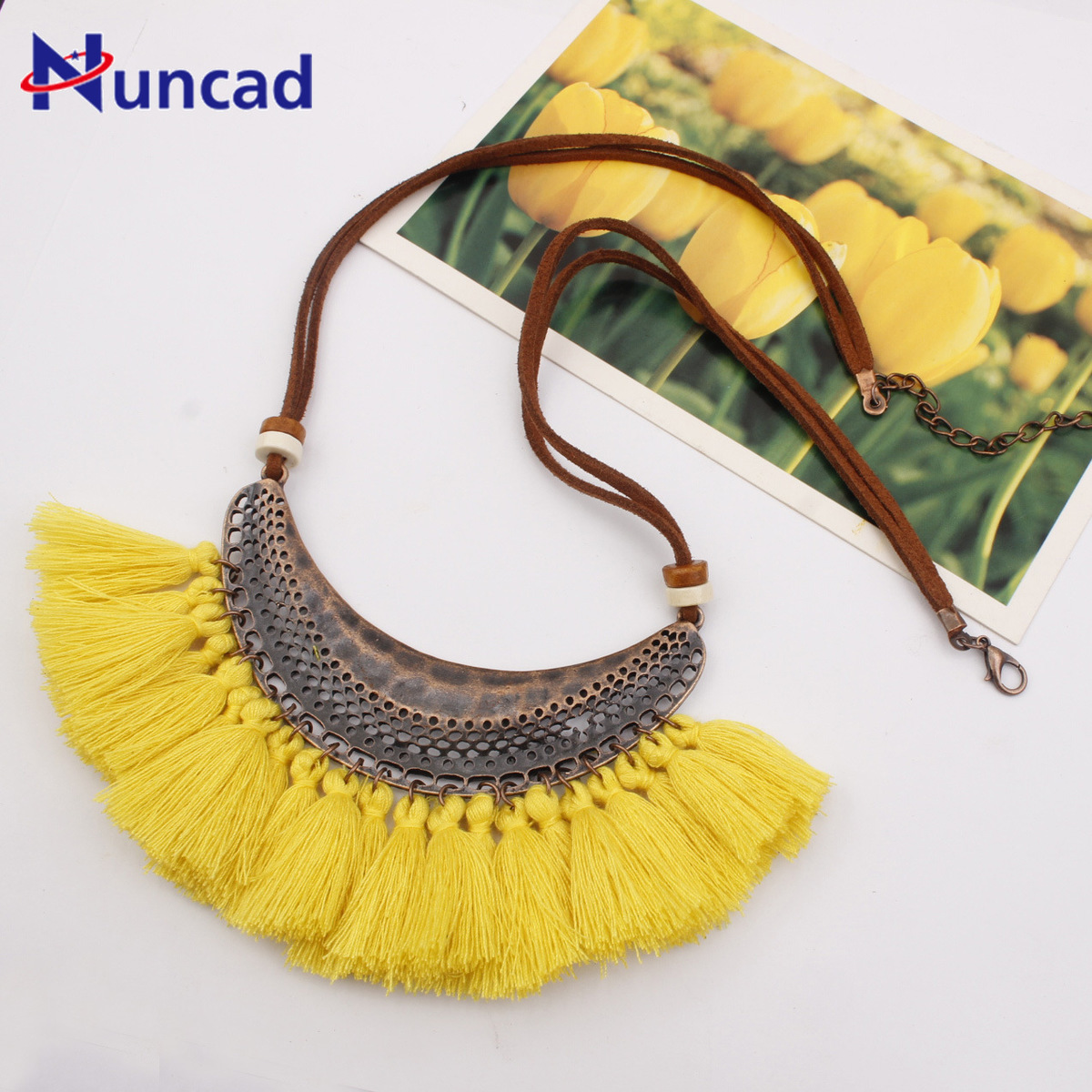 Chain Necklace Tassels-Sweater Woman Accessories Crescent Moon Fashion Colorful Bohemia
